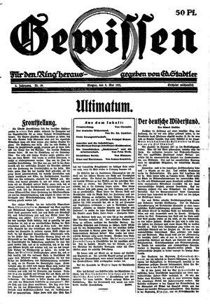 Gewissen vom 09.05.1921