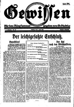 Gewissen vom 06.06.1921