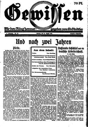 Gewissen vom 15.08.1921