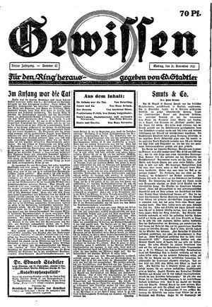 Gewissen vom 21.11.1921
