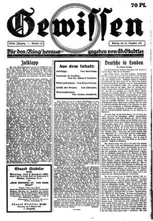 Gewissen vom 26.12.1921