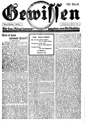 Gewissen vom 19.02.1923