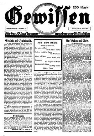 Gewissen vom 02.04.1923
