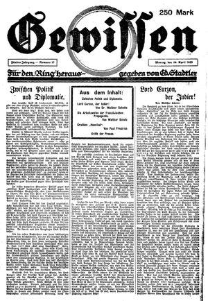 Gewissen vom 30.04.1923