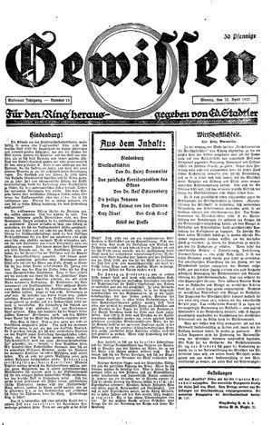 Gewissen vom 13.04.1925