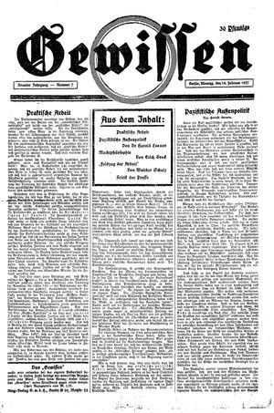 Gewissen vom 14.02.1927