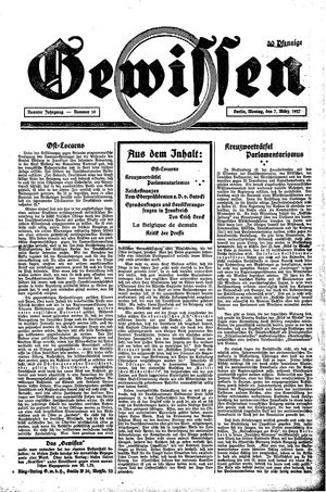Gewissen vom 07.03.1927