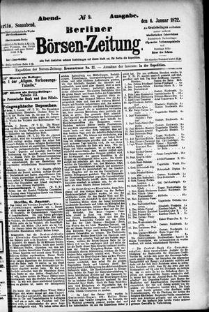 Berliner Börsen-Zeitung vom 06.01.1872