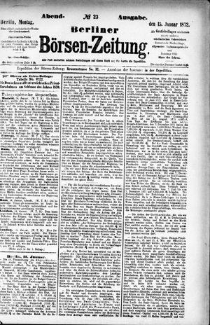 Berliner Börsen-Zeitung vom 15.01.1872