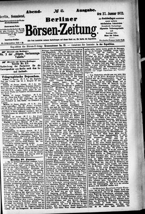Berliner Börsen-Zeitung vom 27.01.1872