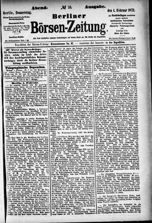 Berliner Börsen-Zeitung vom 01.02.1872