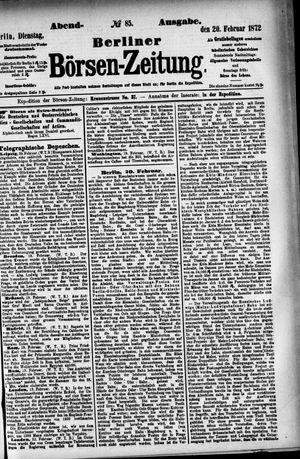 Berliner Börsen-Zeitung vom 20.02.1872