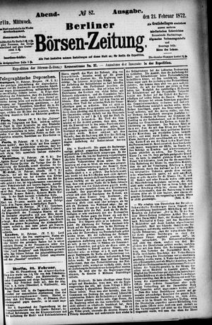 Berliner Börsen-Zeitung vom 21.02.1872