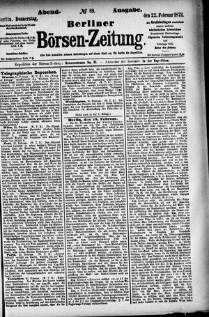 Berliner Börsen-Zeitung vom 22.02.1872