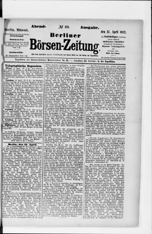 Berliner Börsen-Zeitung vom 17.04.1872