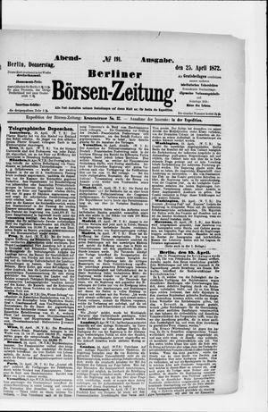 Berliner Börsen-Zeitung vom 25.04.1872