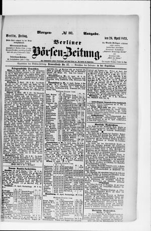 Berliner Börsen-Zeitung vom 26.04.1872