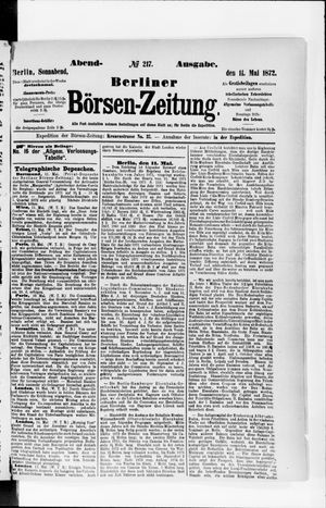 Berliner Börsen-Zeitung vom 11.05.1872