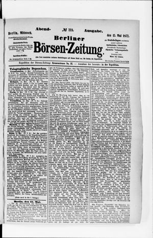 Berliner Börsen-Zeitung vom 15.05.1872