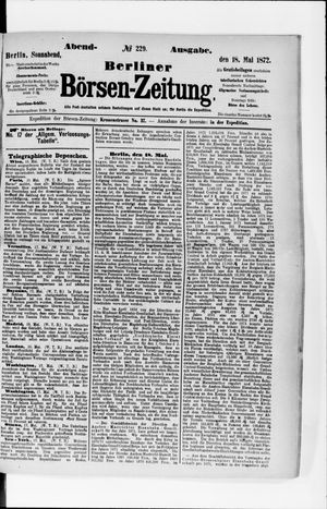 Berliner Börsen-Zeitung vom 18.05.1872
