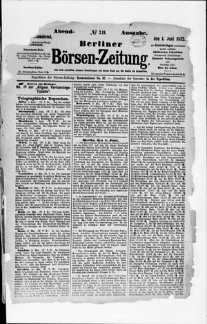 Berliner Börsen-Zeitung vom 01.06.1872