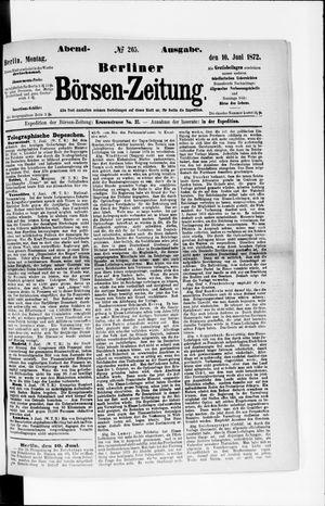 Berliner Börsen-Zeitung vom 10.06.1872