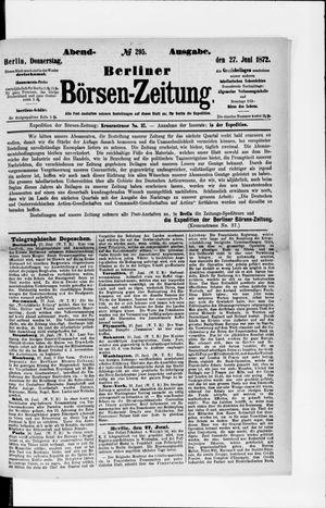 Berliner Börsen-Zeitung vom 27.06.1872
