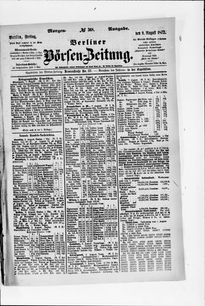 Berliner Börsen-Zeitung vom 09.08.1872