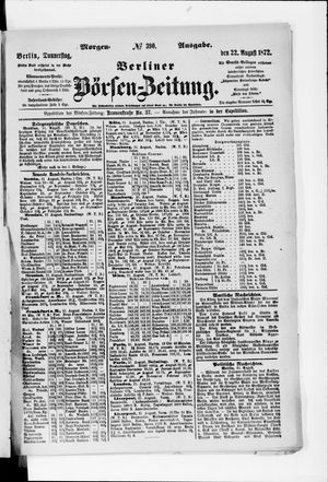 Berliner Börsen-Zeitung vom 22.08.1872