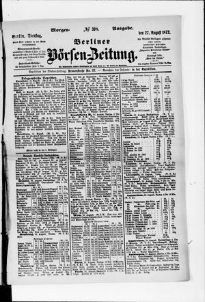 Berliner Börsen-Zeitung vom 27.08.1872