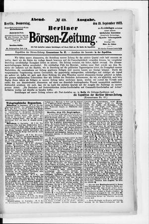 Berliner Börsen-Zeitung vom 19.09.1872