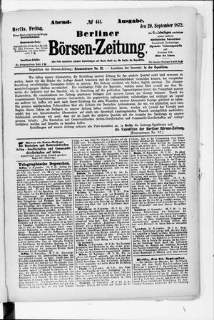 Berliner Börsen-Zeitung vom 20.09.1872