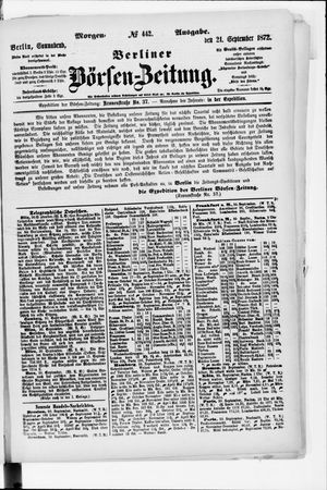 Berliner Börsen-Zeitung vom 21.09.1872