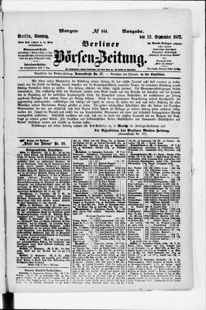 Berliner Börsen-Zeitung vom 22.09.1872