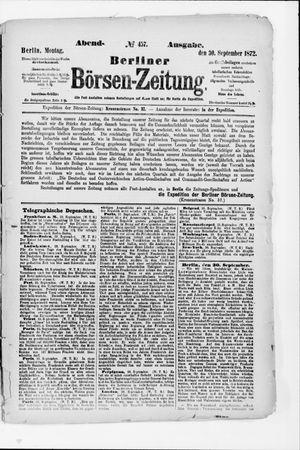 Berliner Börsen-Zeitung vom 30.09.1872
