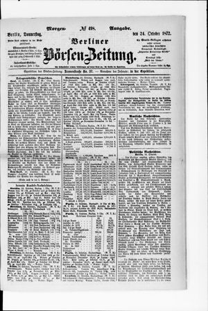 Berliner Börsen-Zeitung vom 24.10.1872