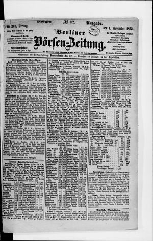 Berliner Börsen-Zeitung vom 01.11.1872
