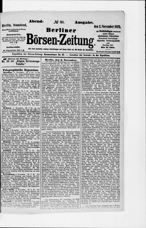Berliner Börsen-Zeitung vom 02.11.1872