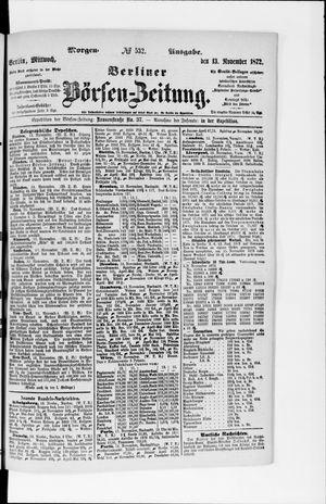 Berliner Börsen-Zeitung vom 13.11.1872