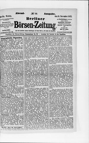 Berliner Börsen-Zeitung vom 18.11.1872