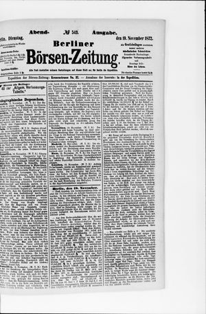 Berliner Börsen-Zeitung vom 19.11.1872