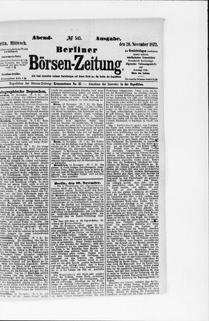 Berliner Börsen-Zeitung vom 20.11.1872