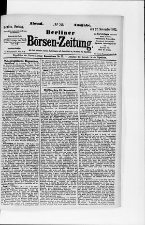 Berliner Börsen-Zeitung vom 22.11.1872
