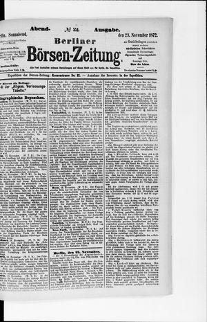 Berliner Börsen-Zeitung vom 23.11.1872