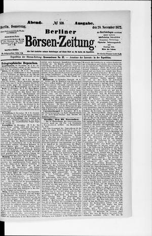 Berliner Börsen-Zeitung vom 28.11.1872
