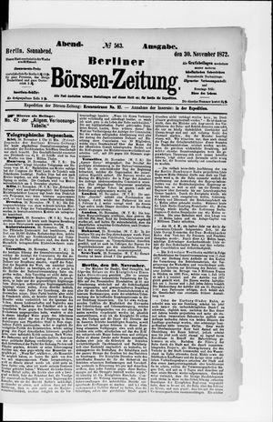 Berliner Börsen-Zeitung vom 30.11.1872