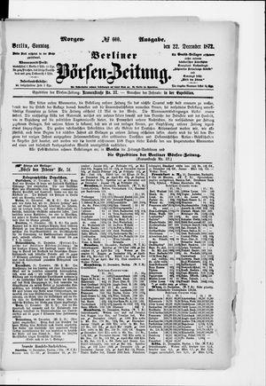 Berliner Börsen-Zeitung vom 22.12.1872