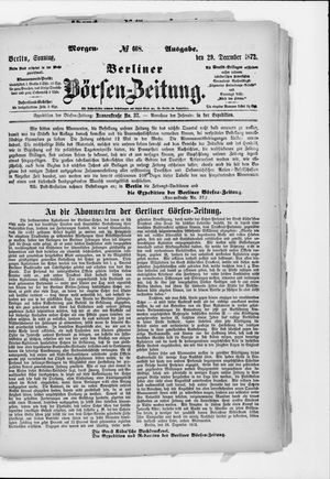 Berliner Börsen-Zeitung vom 29.12.1872