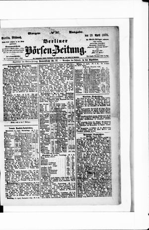 Berliner Börsen-Zeitung vom 23.04.1873