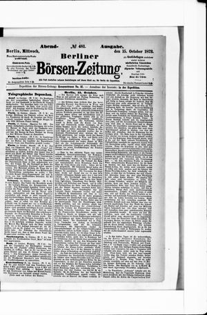 Berliner Börsen-Zeitung vom 15.10.1873